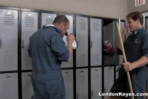 girls get screwed by janitors in the shower