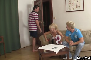 his cute blonde cutie involved into taboo 3some