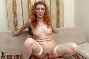 slutty milf babe rides his youthful cock