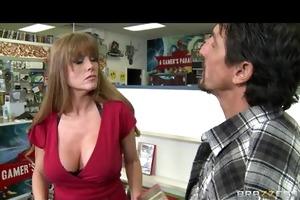 horny big-tit brunette milf fucks big hard dick