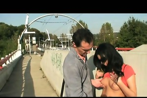 brunette acquires cock in public place