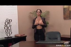 hot breasty dark brown milf secretary copulates