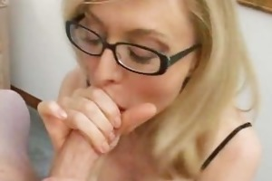 blond d like to fuck in glasses licking hard cock