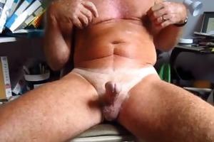 grandad handles his 75 year old circumcised cock