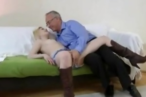 blond cowgirl fucked by old man