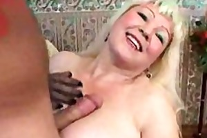 blonde busty aged with juvenile guy