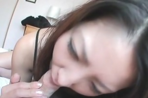 saya shows her blowjob skills as she is sucks him
