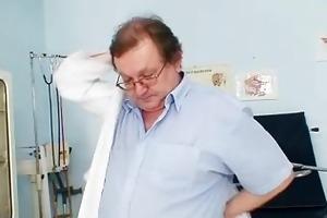 blonde grandma perverted pussy exam with enema