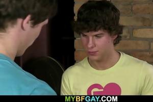 youthful guy seduces his buddy