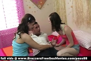 two amateur youthful honeys in ottoman with one