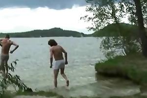 studs team fuck oldie near lake