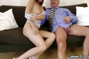 old chap plays with youthful pussy