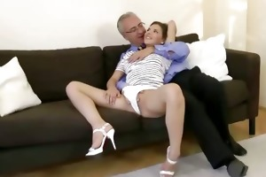 euro babe gets cum-hole sucked by old man
