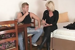 granny golden-haired rides his rigid dick