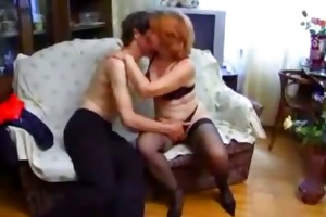 aged russian milf drilled by young dude