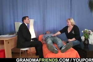 large grandma takes schlongs