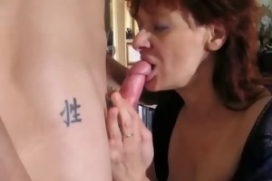 dilettante redhead milf sucks and copulates a