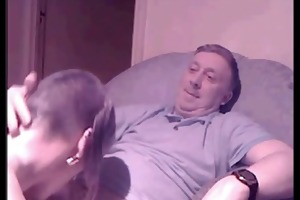 young skinhead girl sucking off an old lad