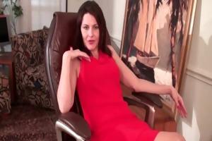 older mommy finger bonks her shaggy pussy