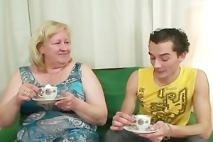 giant granny is group-fucked by her son on law