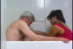 old chap slips fingers inside sexy shemales anus