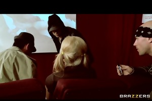 big-tit squirting blond harassed in porn cinema