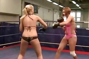 youthful european cuties fighting
