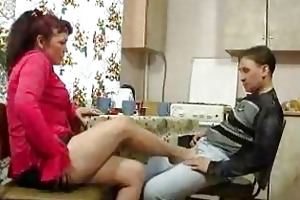 mature woman and juvenile lad fucking on kitchen