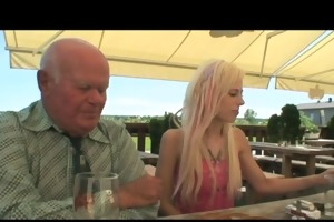 golden-haired babe fucking an old boy
