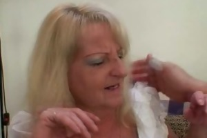 drunk golden-haired granny in hawt threesome orgy