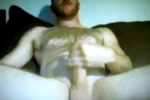 hung hairy daddy jerking large dick on cam