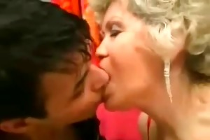 grandma and her fucktoy are making-out