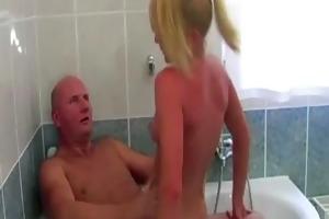 grandpa bonks blonde hottie in bath