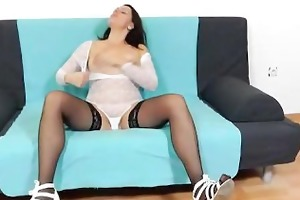 black fake dong in sexy dark brown mother i