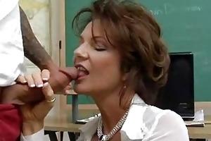 short haired brunette teacher sucks young hard