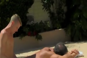 exposed chaps daddy poolside prick