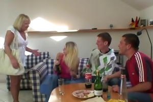 partying guys pound grandma from one as well as