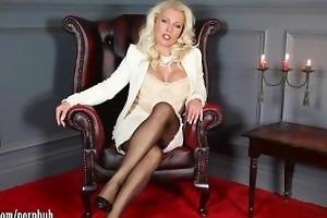 posh milf leggy lana teases in sheer stockings
