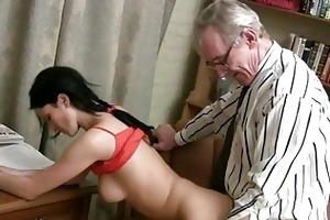 slutty old trainer giving lessons