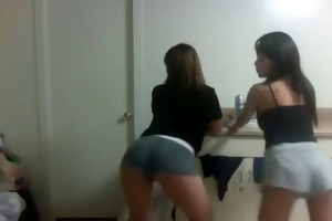2 sexy wasted juvenile oriental girls shaking