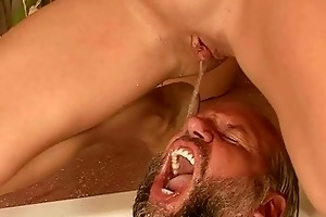 grandpa and young angel pissing and fucking