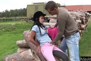 dark brown teen angelica gets nailed outdoors