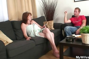 mother-in-law rides youthful dick and wife comes