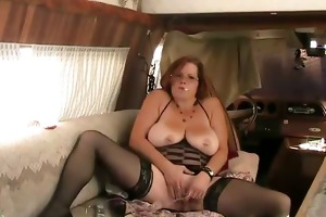 old cougar play with sex toys and smoke