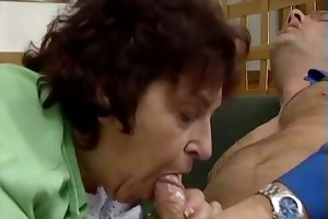 bulky old woman jerks and sucks on an hard part6