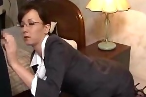 secretary on her knees giving oral-stimulation