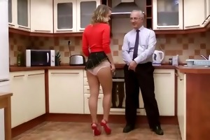 sexy babe in kitchen sucks dong and waits for