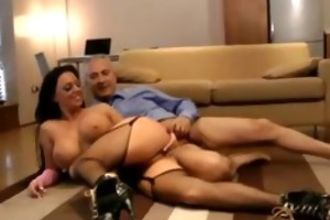 large titted euro honey in stockings sucks old