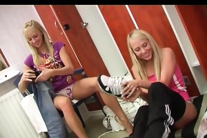 juvenile lesbian babes have joy in locker room