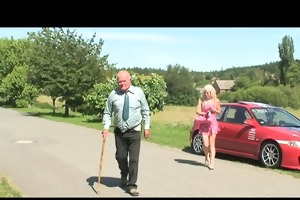 golden-haired hottie fucking an old guy and